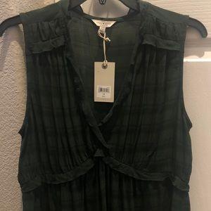 Lucky Brand romantic ruffle sleeveless top Green L